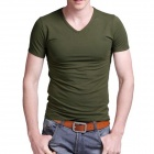 T-01 Men's Cotton Skinny V-Neck Short-Sleeve T-shirt - Army Green (L)