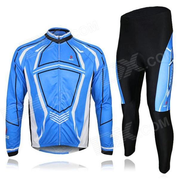 ARSUXEO C03 Outdoor Cycling Lycra + Nylon Long-Sleeves Jacket + Pants Set for Men - Blue (XL) veobike men long sleeves hooded waterproof windbreak sunscreen outdoor sport raincoat bike jersey bicycle cycling jacket