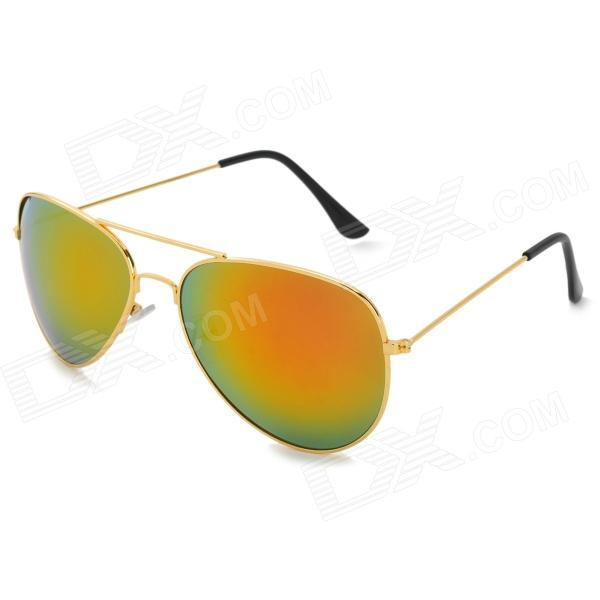 Stylish UV400 Resin Lens Pilot's Sunglasses - Golden + Orange