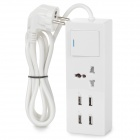 USB 4-Port 5V EU Plug Charging Adapter w/ Socket/Switch for IPHONE/IPAD + More - White (100~240V)