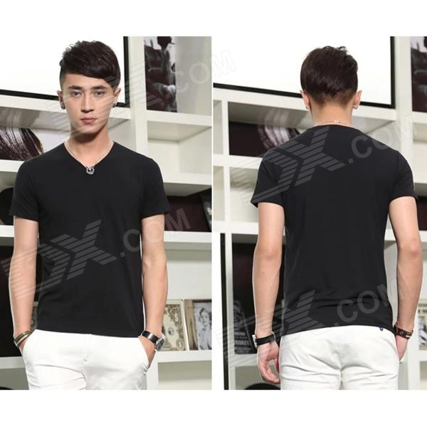T-01 Cotton Short-Sleeve V-Neck Tight T-shirt for Men - Black (XL)