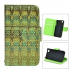 Woven Pattern Protective Flip-open PU Leather + Plastic Case for IPHONE 4 / 4S - Green