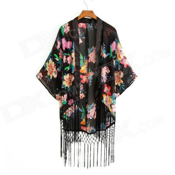 Flower Printed Horn Sleeve Hem Tassel Coat for Women - Black (Size M)