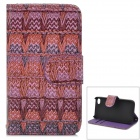 Stylish Patterned Flip-open PU + Plastic Case w/ Holder + Card Slot for IPHONE 4 / 4S - Purple