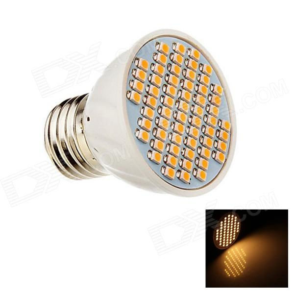 E27 4W 260lm 3000K 60-SMD 3528 LED Warm White Energy Saving Light Bulb - White (AC12V)