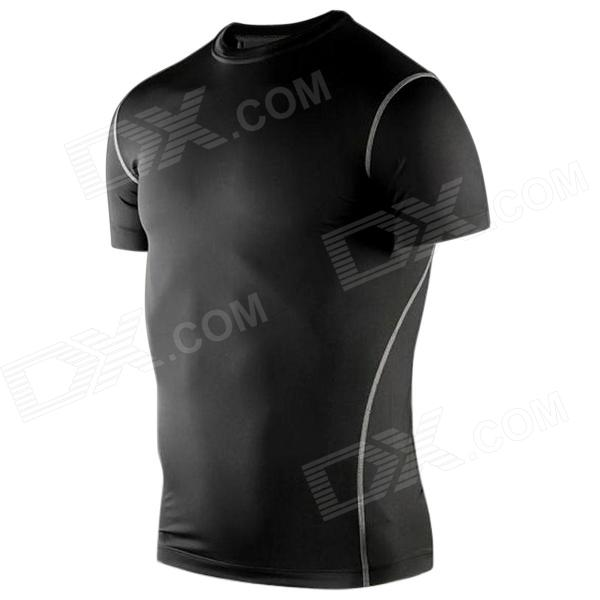 1987114 Outdoor Sports Polyester + Spandex Tight Short-Sleeve T-Shirt for Men - Black (XL)
