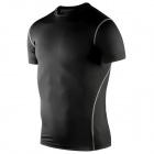 Outdoor Sports Polyester + Spandex Tight Short-Sleeve T-Shirt for Men - Black (XL)