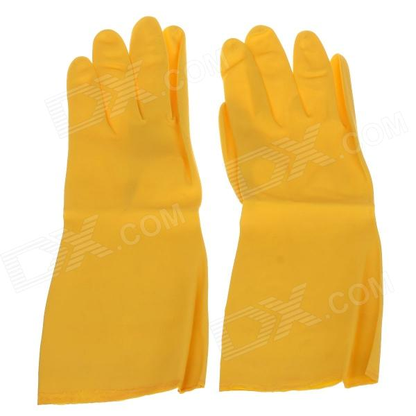 CLEANGUARD Waterproof Extra Long Cuff Rubber Gloves - Yellow (Size L)