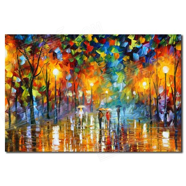 Rainy Night Street Sceney Canvas Oil Painting (60 x 80cm)
