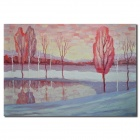 Iarts Young Trees On The Lakeside Scenery Canvas Oil Painting (80 x 60cm)