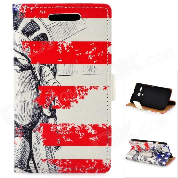 Statue of Liberty Pattern PU + PC Case w/ Stand for Moto G - Red + Blue statue of liberty pattern protective plastic case for iphone 4 4s blue white