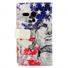 Statue of Liberty Pattern PU + PC Case w/ Stand for Moto G - Red + Blue