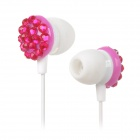 Universal 3.5mm In-Ear Earphone w/ Microphone - White + Dark Pink +Silver