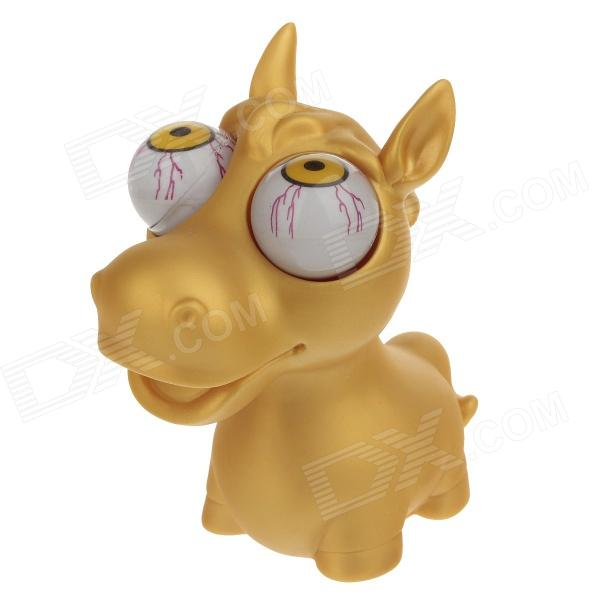 Stress Reliever Rubber Horse Baby Pop Out Eyes Doll - Yellow