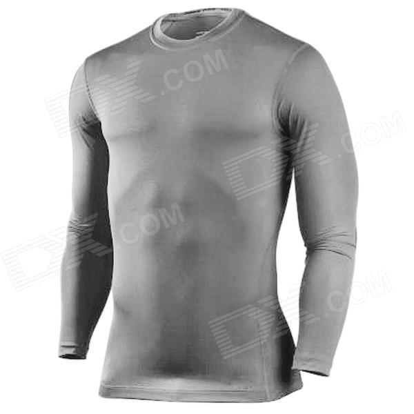 WJH Outdoor Sports Polyester + Spandex Tight Long-Sleeve Shirt for Men - Grey (XL)