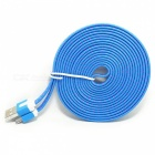 Micro USB Flat Charging / Data Cable for Cellphones - Blue + Deep Pink (300cm)