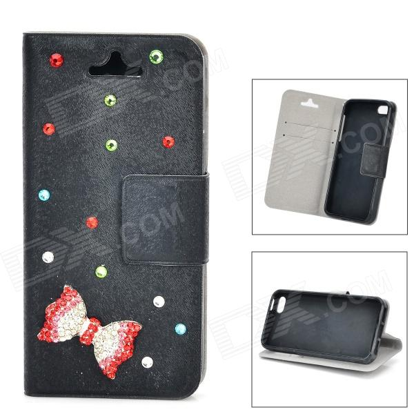где купить Bowknot Pattern Protective PU leather + TPU Case for IPHONE 5 / 5S - Black дешево