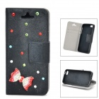 Bowknot Pattern Protective PU leather + TPU Case for IPHONE 5 / 5S - Black