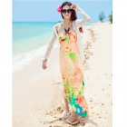 0762 Casual Micro Fiber Beach Halter Long Dress - Green + Orange + Multicolored