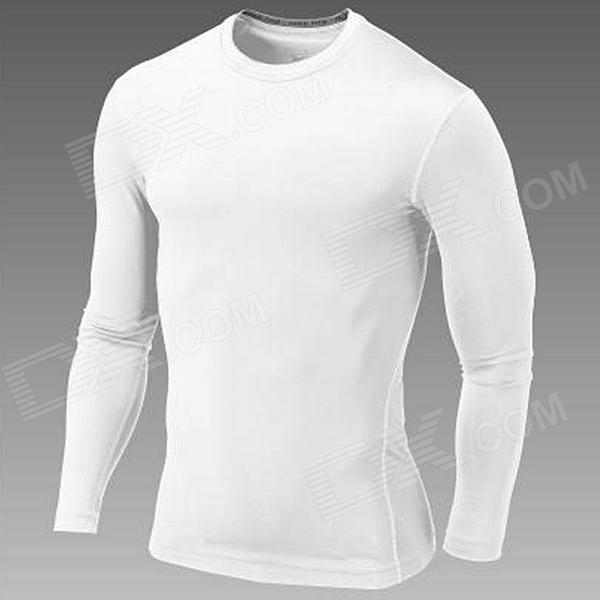 WJH Outdoor Sports Polyester + Spandex Tight Long-Sleeve Shirt for Men - White (XL)