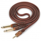JinJiang 3.5mm to 2-6.35mm Plug Audio Signal Cable - Brownish Red (1.5m)