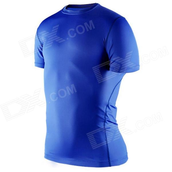 1987114 Outdoor Sports Polyester + Spandex Tight Short-Sleeve T-Shirt for Men - Blue (XL)