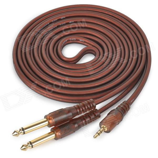 JinJiang 3.5mm to 2-6.35mm Plug Audio Signal Cable - Brownish Red (3m)