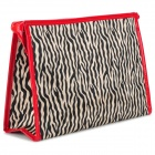Zebra Skin Pattern Oxford Large Zipper Makeup Bag - Black + Red + Beige