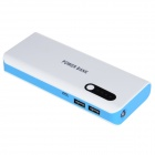 10000mAh Dual USB Port High Capacity Mini Intelligent Power Bank w/ Indicator Lamp - White + Blue