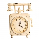 Retro Phone Desk Clock - White (1 x AA)