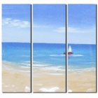 Iarts DX0326-02 Blue Sky Blue Sea Sailing Boat Oil Painting - Blue