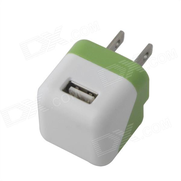 Compact Mini 5V 1000mA USB US Plugss Power Adapter - Green + White