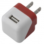 Compact Mini 5V 1000mA USB US Plug Power Adapter - Red + White