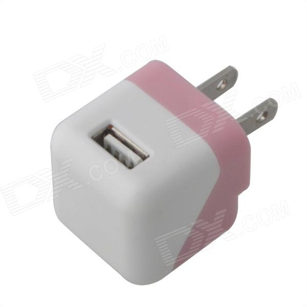 Compacto Mini 5V 1000mA USB US Plugss Power Adapter - Rosa + Branco