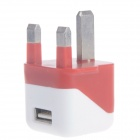 Compact Mini 5V 1000mA USB UK Plug Power Adapter - Orange + White