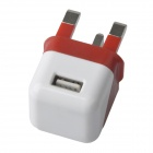 Compact Mini 5V 1000mA USB UK Plug Power Adapter - Red + White