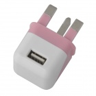 Compact Mini 5V 1000mA USB UK Plug Power Adapter - Pink + White