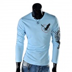 Eagle Tattoo Pattern Round Neck Long Sleeve T-Shirt - Sky Blue(Size XL)