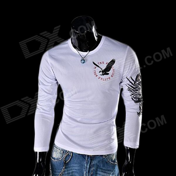 Eagle Tattoo Pattern Round Neck Long Sleeve T-Shirt - White(Size XL)