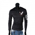 Eagle Tattoo Pattern Round Neck Long Sleeve T-Shirt - Black (Size XL)