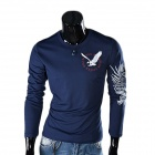 Eagle Tattoo Pattern Round Neck T-Shirt - Navy Blue (Size XL)