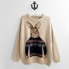 Rabbit Pattern Round Neck Fashion Women's Sweater - Khaki (Free Size)