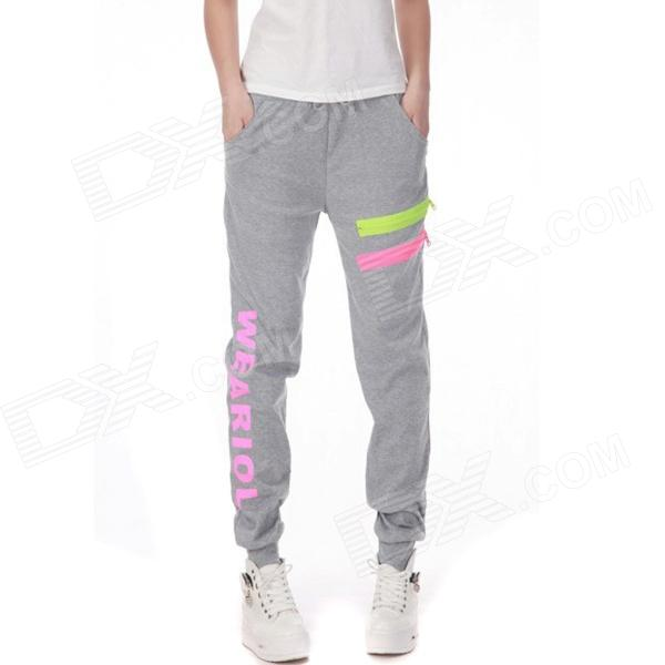 Casual Pants Straight Stretch Pants Harem Pants - Grey (Size L)