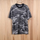 Men's Casual Cotton Short Sleeve T-Shirt - Camouflage Grey (Size M)