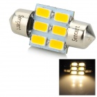 31MM DE3425 2W 70lm 6-SMD 5730 LED Warm White Car License Plate / Reading / Roof Light (9~36V)