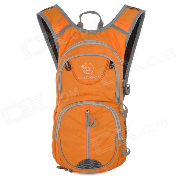 Locallion SPO440 Outdoor Multi-function Backpack w/ Water Bag Compartment - Orange + Grey - DXBackpack<br>Water resistant keeping your backpack from wet in rainy day; With breathable mesh on both sides and hollow design on back great for ventilation; With reflective strip making you safe.<br>