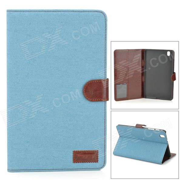 Protective Flip-open Denim PU Leather Case for Samsung Galaxy Pro 8.4 T320 - Light Blue + Brown
