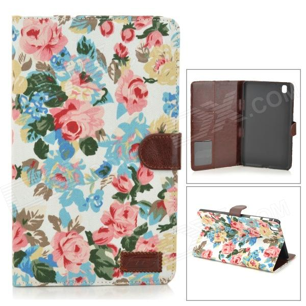 Protective Flip-open Flower Cloth PU Leather Case for Samsung Galaxy Pro 8.4 T320 protective pu leather flip open stand case w stylus for samsung galaxy tab pro 8 4 t320 white