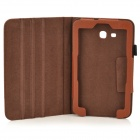 Lichee Pattern Protective PU Leather Case for Samsung Galaxy Tab 3 Lite T110 - Brown