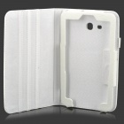 Lichee Pattern Protective PU Leather Case for Samsung Galaxy Tab 3 Lite T110 - White